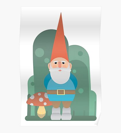 Gnome with mushroom Poster