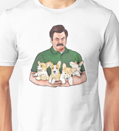 Ron Swanson Holding Corgi Puppies Unisex T-Shirt