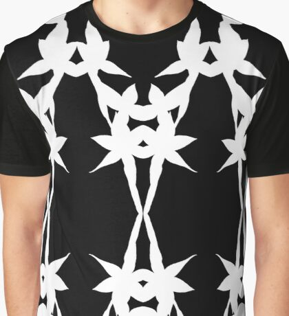 Black and White Sun Orchid Mirror Design Graphic T-Shirt