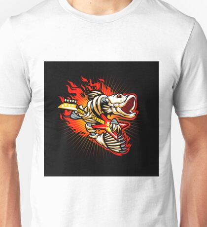 Fish skeleton rock electric guitar flame Unisex T-Shirt