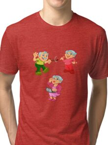 Funny old woman ,old man  Tri-blend T-Shirt