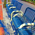 Blue Benches in Tourist Town by cherie hanson