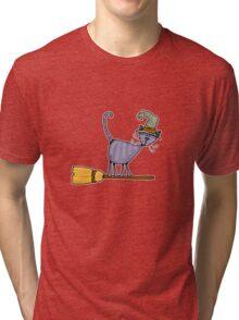 Broomstick kitty Tri-blend T-Shirt
