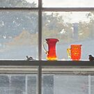 Orange glass dull day by cherie hanson