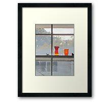 Orange glass dull day Framed Print