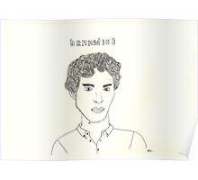 sketch of Bennedict Cumberbatch from sherlock Poster