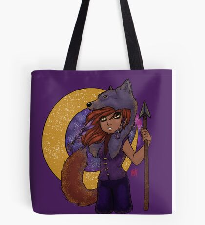 Purple and Gold Wolf Girl Tote Bag