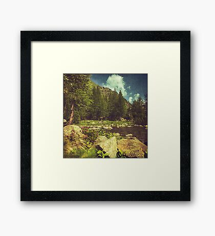 Alpine Idyll - Mountain lake in the Italian Alps Framed Print