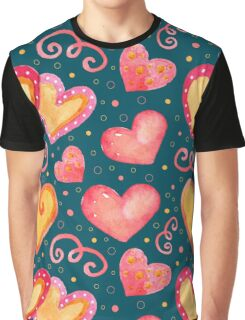 Watercolor colorful hearts.  Graphic T-Shirt