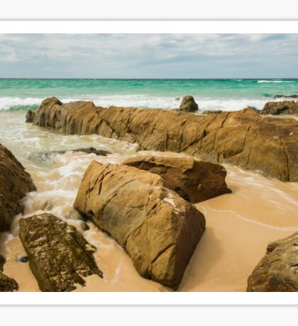 Waves and beach at Snapper Rock, New South Wales Sticker