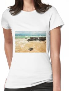 Waves and beach at Snapper Rock, New South Wales Womens Fitted T-Shirt
