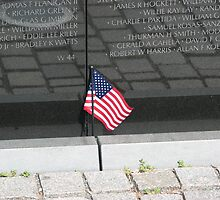 Flag At the Vietnam Memorial, Washington D.C. by Karl187