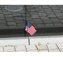 Flag At the Vietnam Memorial, Washington D.C. Photographic Print
