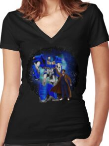 Giant retro Robot Phone Box with The 10th Doctor Women's Fitted V-Neck T-Shirt