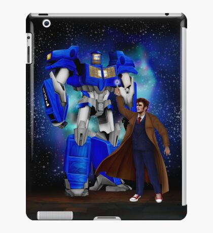 Giant retro Robot Phone Box with The 10th Doctor iPad Case/Skin