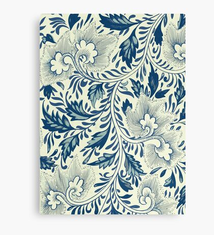 Abstract Vintage Floral Pattern In Blue And Creamy White With Spring Branches Leaves And Flowers Canvas Print