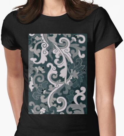 Stylish Dark Sepia Vintage Floral Pattern Asian Traditional Artwork Womens Fitted T-Shirt