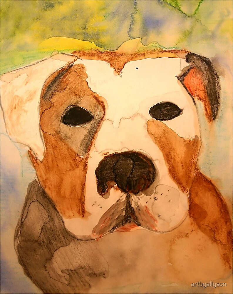 Pit Bull Watercolor by Allyson Kitts