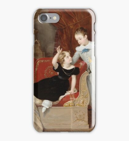 Merry-Joseph Blondel (French, ).  A portrait of two children in the interior iPhone Case/Skin