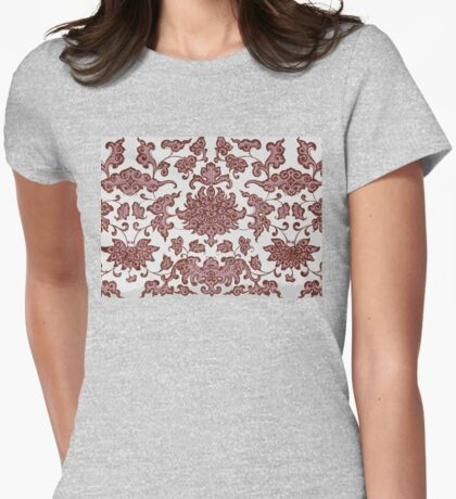 Stylish Retro Floral Patterns - Vintage Asian Traditional Oriental Pattern Collection In Dark Red And White Womens Fitted T-Shirt