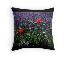 Lavender Field Poppies Throw Pillow