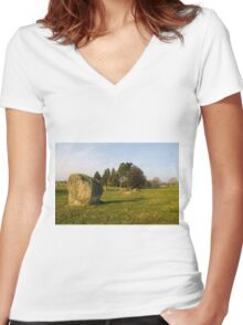 Long Meg Stone Circle Women's Fitted V-Neck T-Shirt