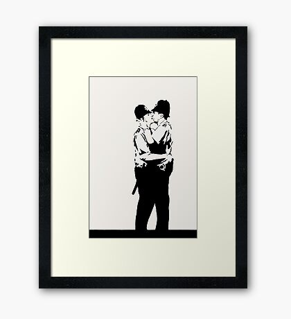 Kissing Coppers Framed Print