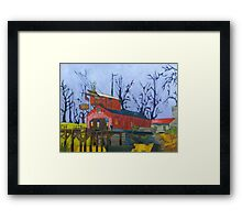 Canal Barn with Figure Framed Print