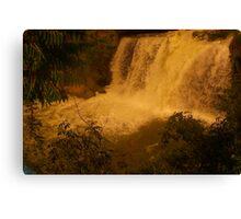 Medina Falls,  Medina, NY Starr1949 redbubble community photo photography art amber sun water falls waterfalls  Canvas Print