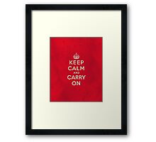 Keep Calm and Carry One Grunge Red Background Framed Print