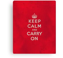 Keep Calm and Carry One Grunge Red Background Canvas Print