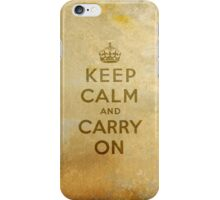 Keep Calm and Carry One Old Vintage Background iPhone Case/Skin