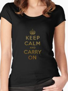 Keep Calm and Carry One Old Vintage Background Women's Fitted Scoop T-Shirt