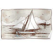 Vintage Sailing Ship on the Sea Poster
