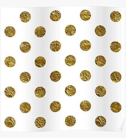 gold polka dots on white | Pattern Poster