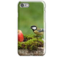 Great tit and a red apple iPhone Case/Skin