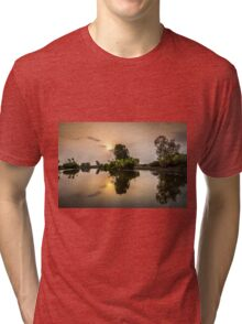 Yellow Water Sunset Reflections Tri-blend T-Shirt