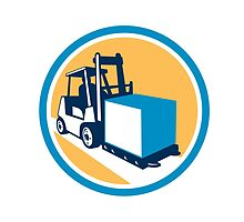 Forklift Truck Box Circle Retro by patrimonio