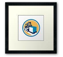 Forklift Truck Box Circle Retro Framed Print
