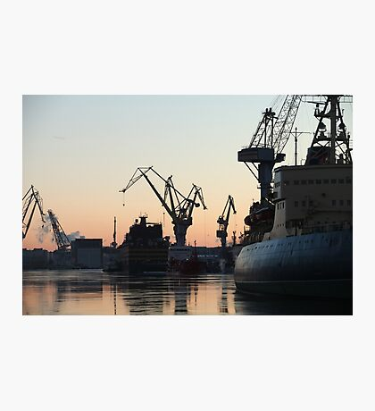 silhouettes of ships and portal cranes Photographic Print