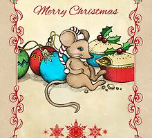 Love, Joy, PIE! Merry Christmas! Cute mouse illustration by micklyn
