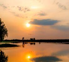 Yellow Water Sunset Reflections Sticker