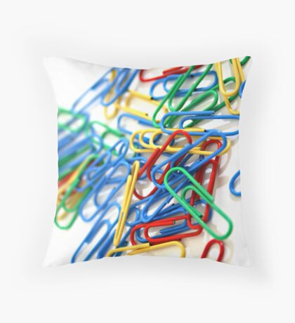 PAPER CLIPS Throw Pillow