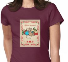 Love, Joy, PIE! Merry Christmas! Cute mouse illustration Womens Fitted T-Shirt