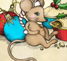 Love, Joy, PIE! Merry Christmas! Cute mouse illustration Sticker