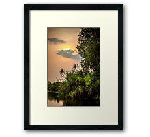 Yellow Water Sunset Framed Print