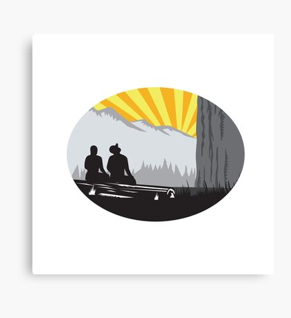 Trampers Sitting Looking Up Mountain Oval Woodcut Canvas Print