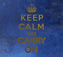 Keep Calm and Carry One Grunge Dark Blue Background by houk