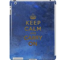 Keep Calm and Carry One Grunge Dark Blue Background iPad Case/Skin