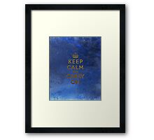 Keep Calm and Carry One Grunge Dark Blue Background Framed Print